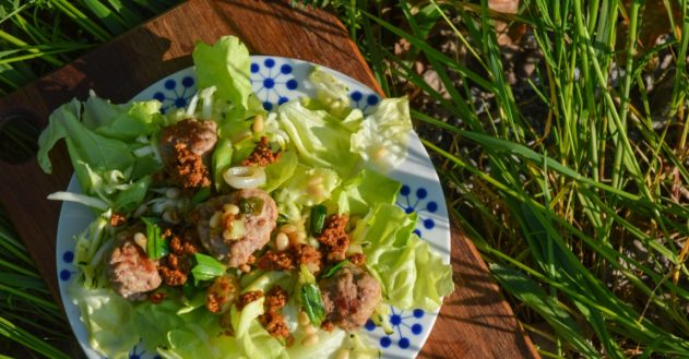 Kalkun-frikadeller med pinjekerner og rød pesto