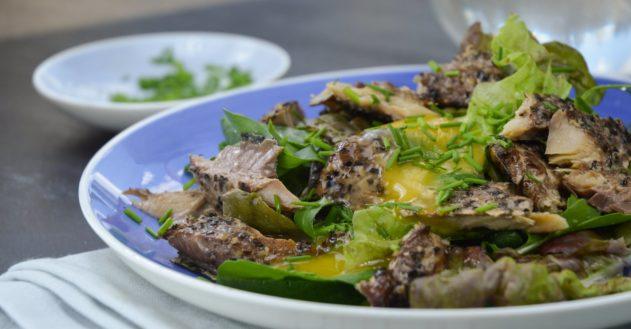 Sommer-salat med pebermakrel