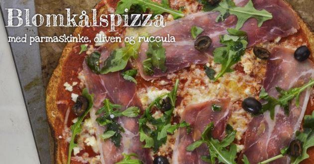 Blomkålspizza med parmaskinke, oliven og ruccula
